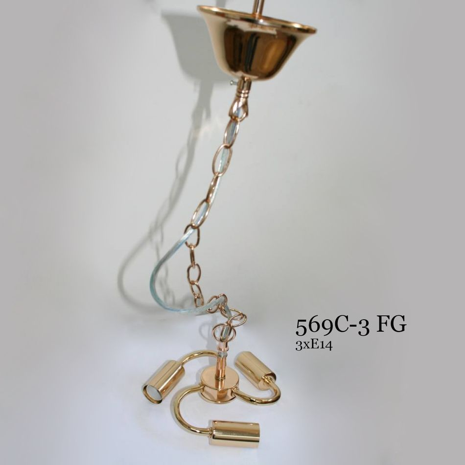 Подвес для абажура на три лампочки 569С-3 золото