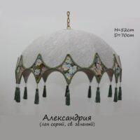 Абажур подвесной - люстра Александрия лен - св. зеленый