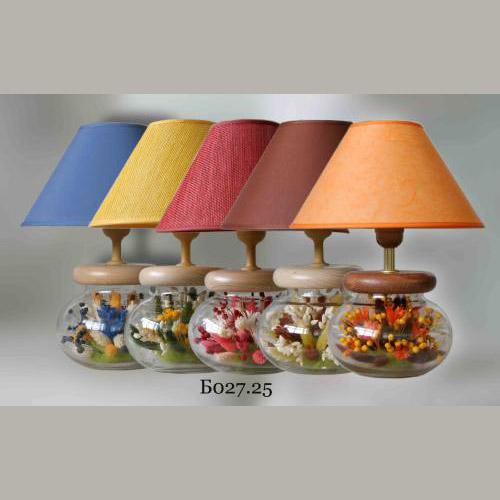 Настольная лампа с сухими цветами букет Б027.25