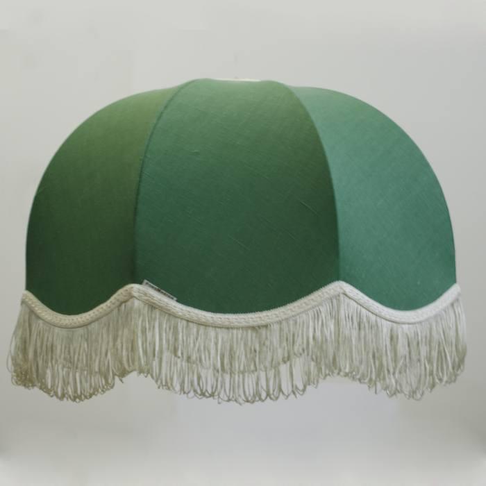 Тканевый абажур Домашний лен зеленый