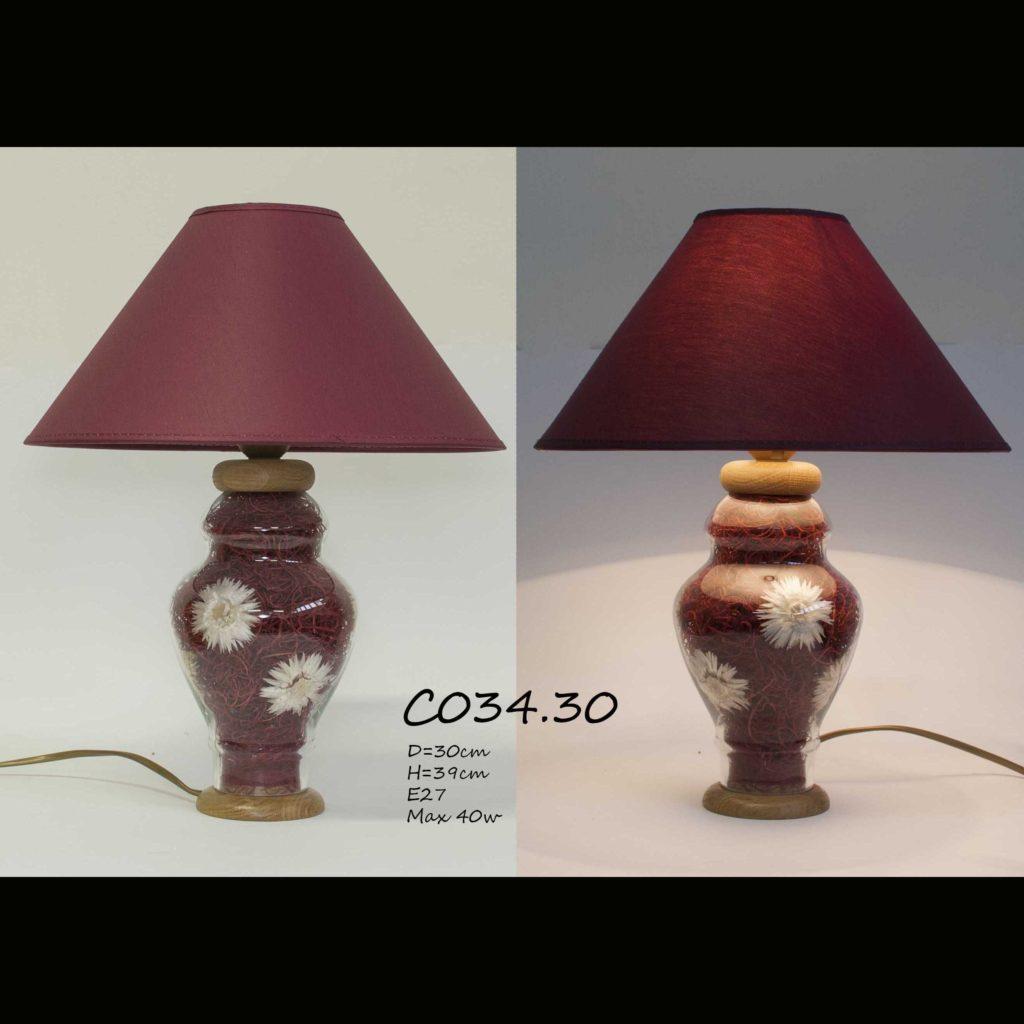 Настольная лампа с цветами С034 бордо наполнение