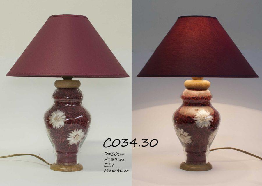 Настольная лампа с цветами С034 бордо