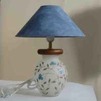 Настольная лампа с ручной росписью В027 голубые цветы