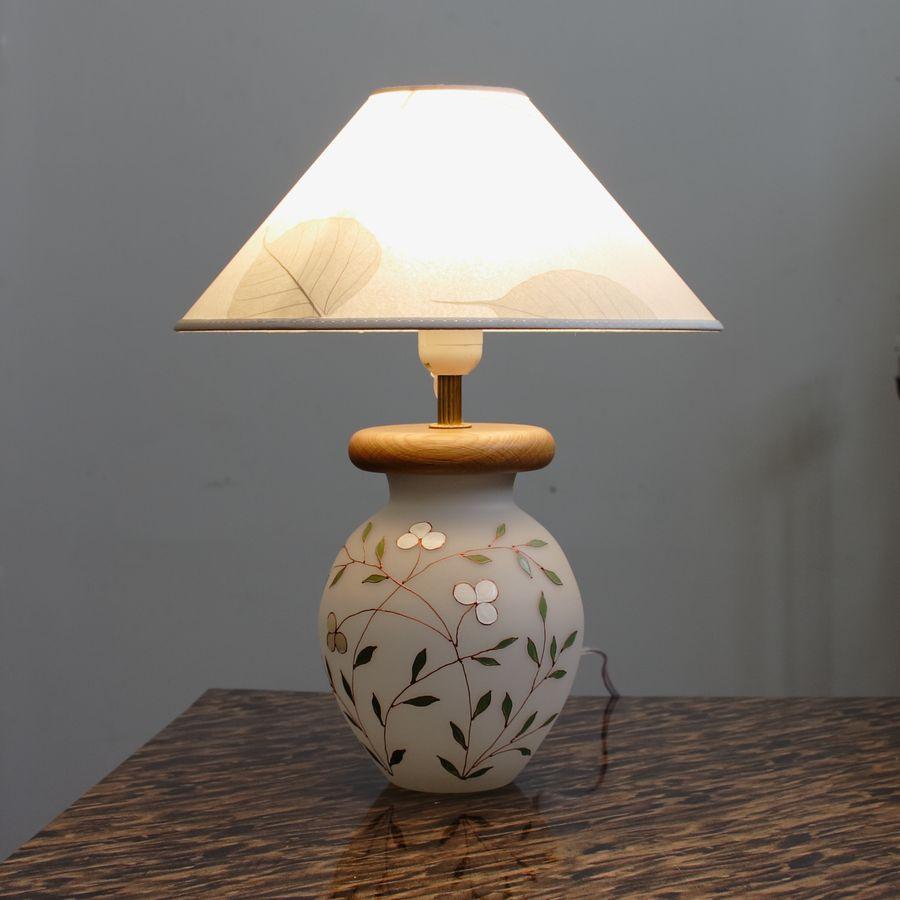 Настольная лампа с ручной росписью В024 белый клевер