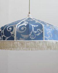 Абажур подвесной из ткани Византия синий с рисунком