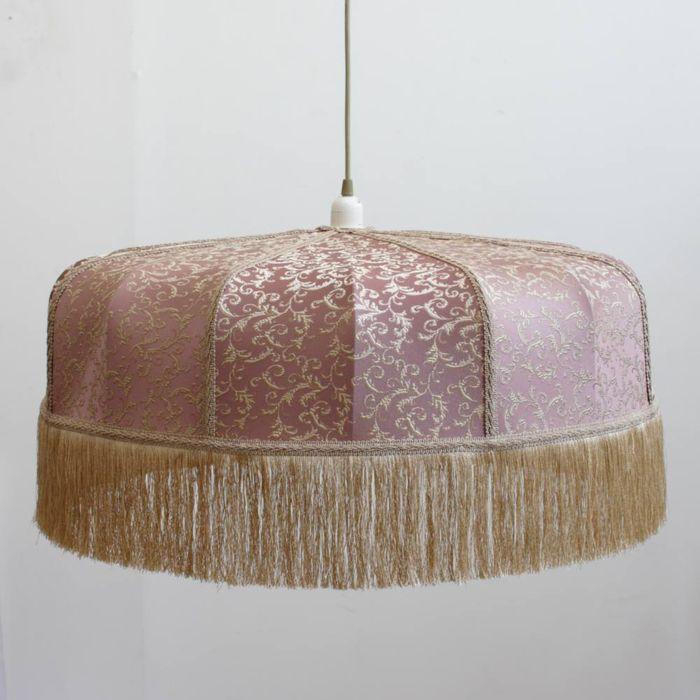 Подвесной абажур Византия узор розовый