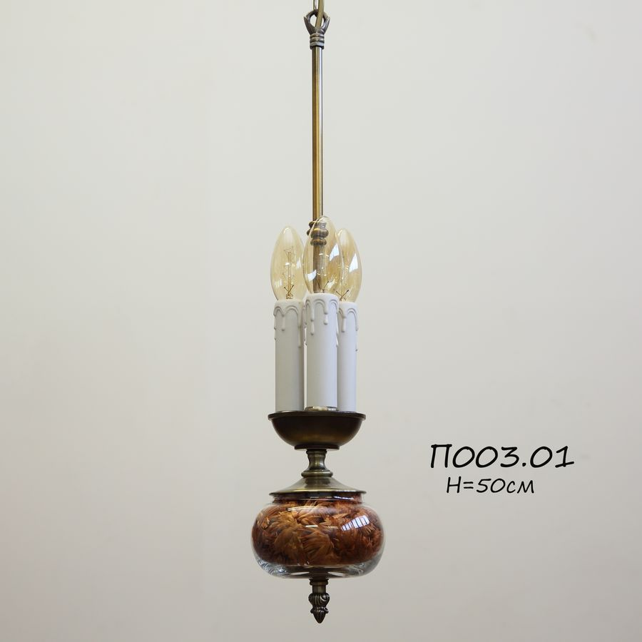 Подвес для абажура с цветами на 3 лампочки П003.01 коралл