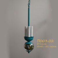 Подвес для абажура с цветами на 3 лампочки П003.02 бирюза