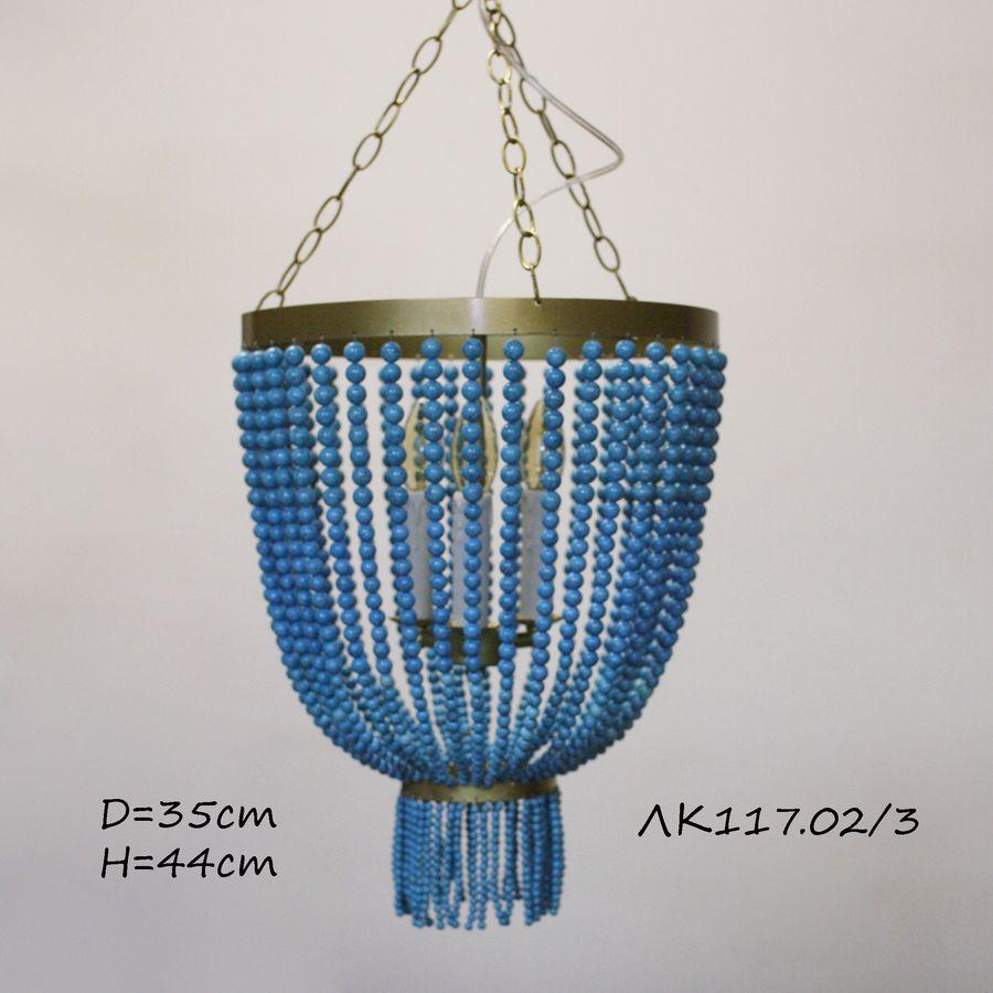 Люстра потолочная ЛК117.02 камень бирюза, бисер