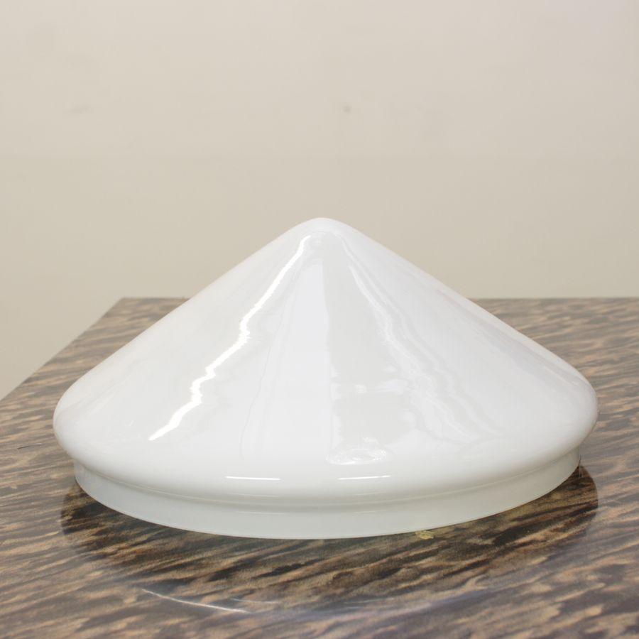 Плафон стеклянный для настольной лампы белый конусный