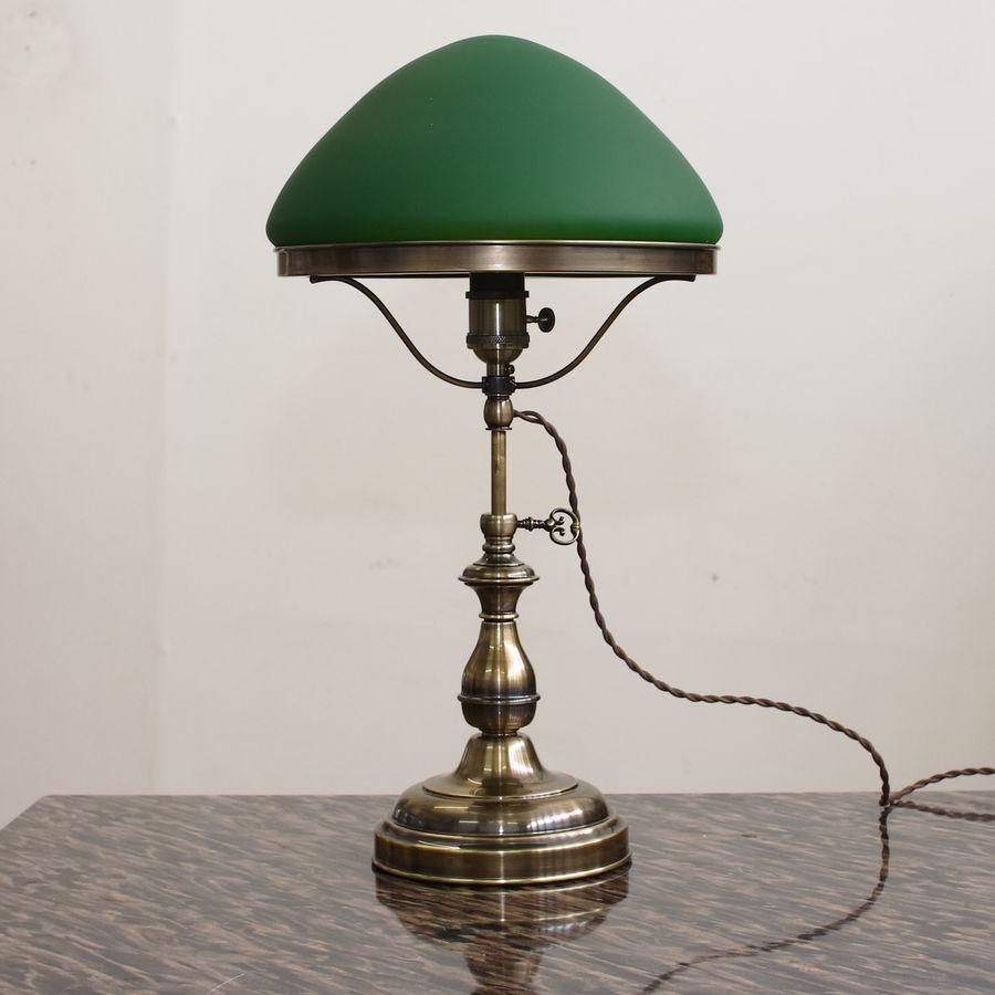 Настольная лампа кабинетная с плафоном из стекла телескопическая 185.07 Т патина