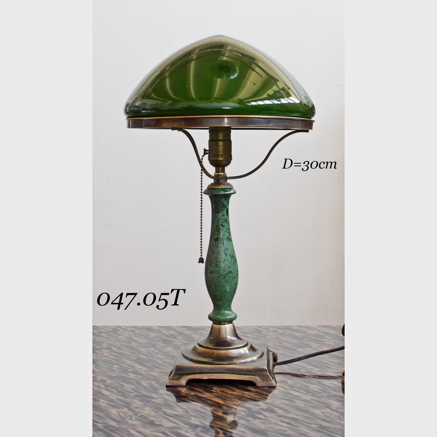 Лампа латунная с зеленым плафоном 047.05 Т